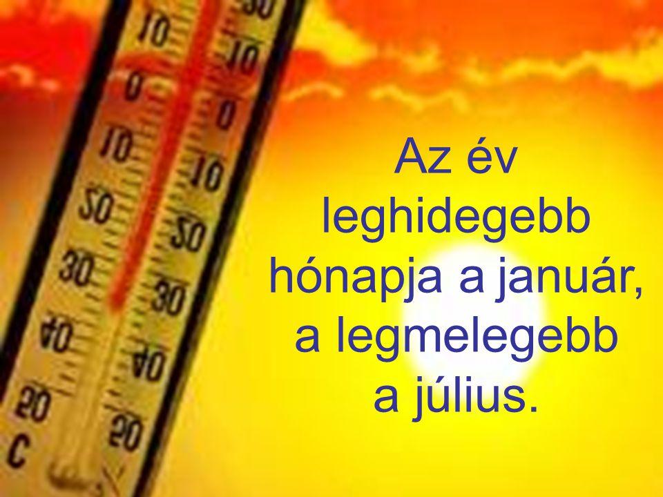 Az év leghidegebb hónapja a január, a legmelegebb a július.