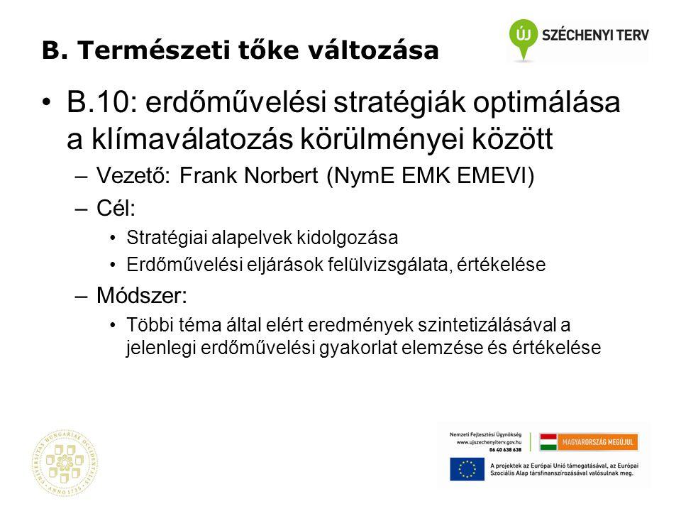B. Természeti tőke változása •B.10: erdőművelési stratégiák optimálása a klímaválatozás körülményei között –Vezető: Frank Norbert (NymE EMK EMEVI) –Cé