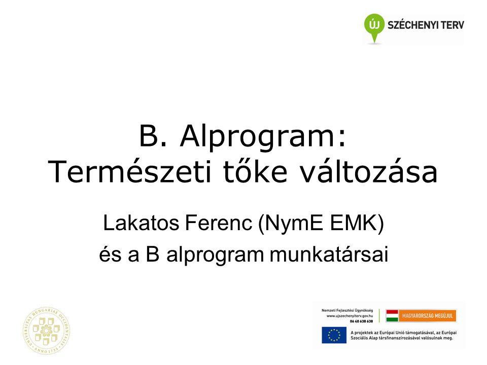 B. Alprogram: Természeti tőke változása Lakatos Ferenc (NymE EMK) és a B alprogram munkatársai