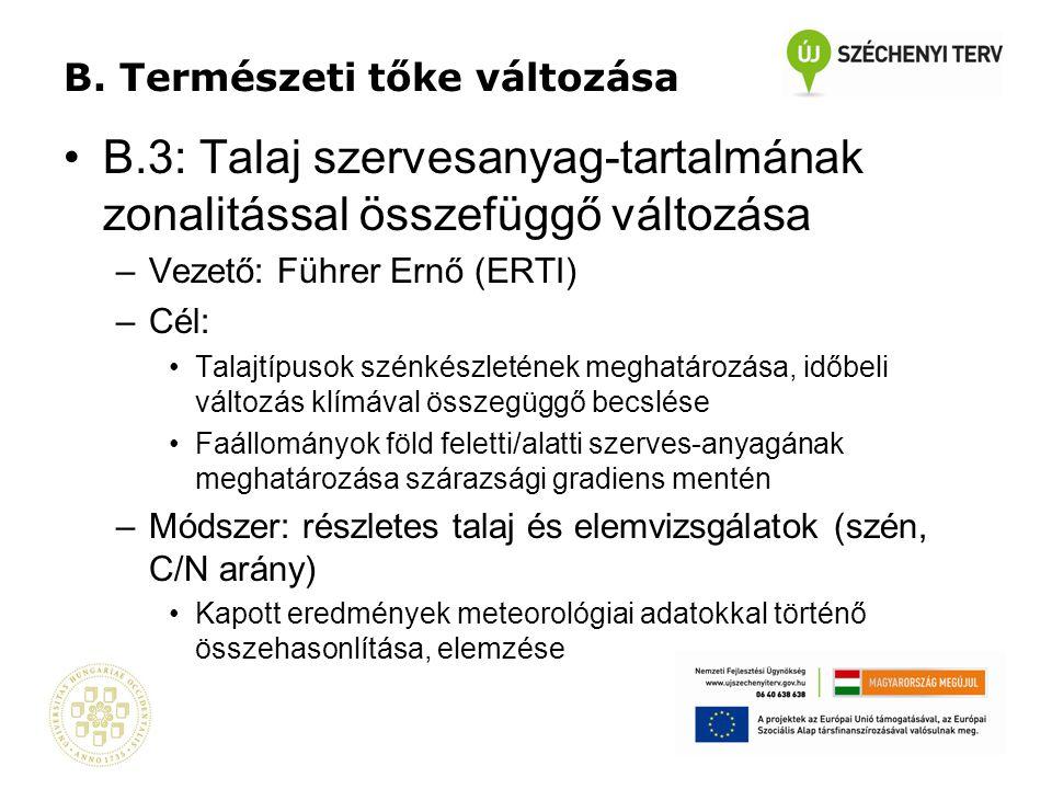 B. Természeti tőke változása •B.3: Talaj szervesanyag-tartalmának zonalitással összefüggő változása –Vezető: Führer Ernő (ERTI) –Cél: •Talajtípusok sz