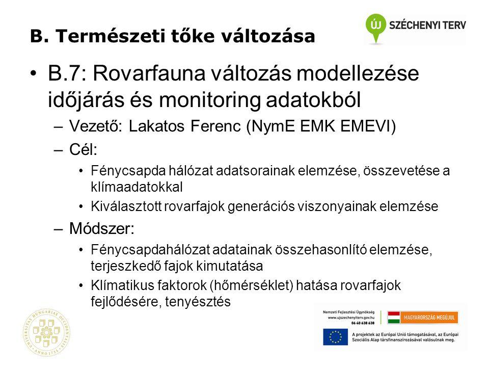 B. Természeti tőke változása •B.7: Rovarfauna változás modellezése időjárás és monitoring adatokból –Vezető: Lakatos Ferenc (NymE EMK EMEVI) –Cél: •Fé