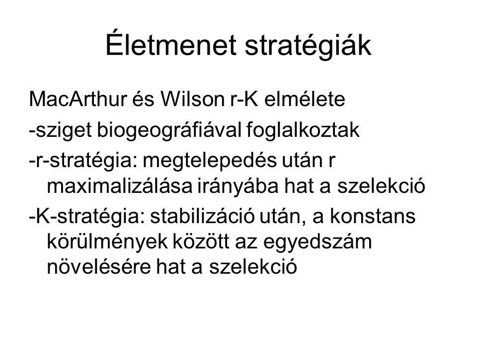 Életmenet stratégiák MacArthur és Wilson r-K elmélete -sziget biogeográfiával foglalkoztak -r-stratégia: megtelepedés után r maximalizálása irányába h