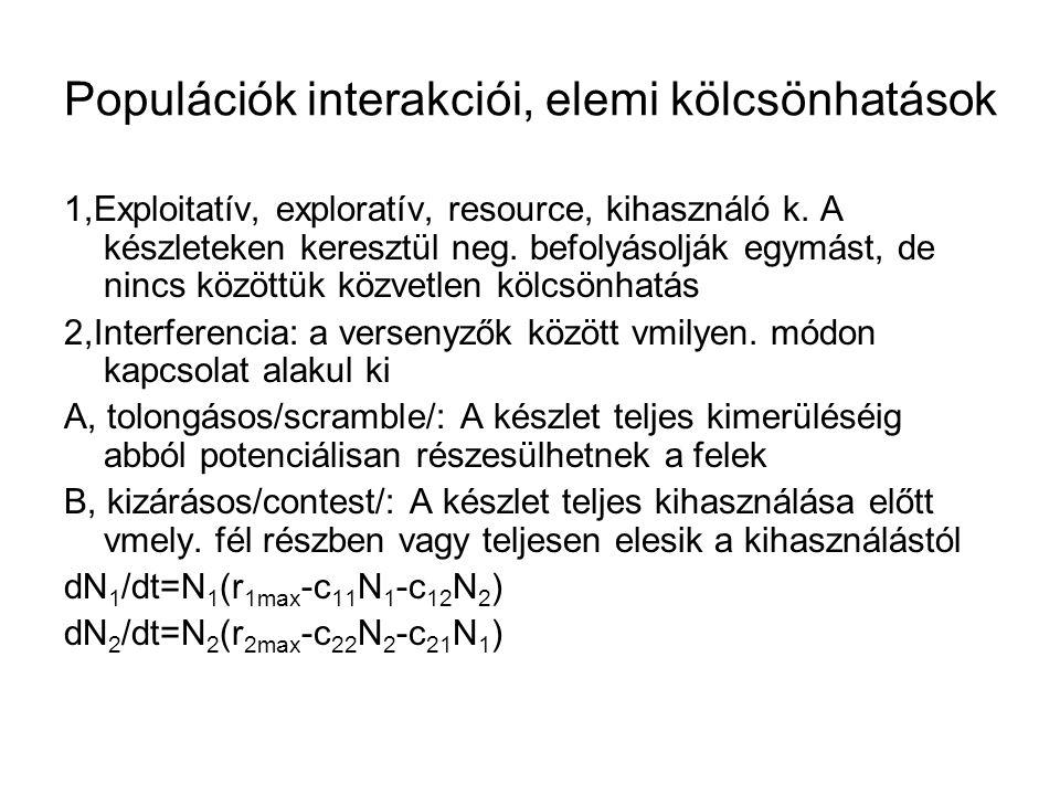 Populációk interakciói, elemi kölcsönhatások 1,Exploitatív, exploratív, resource, kihasználó k. A készleteken keresztül neg. befolyásolják egymást, de