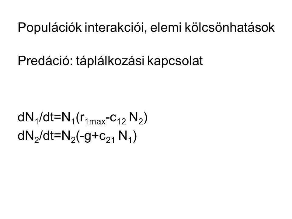 Populációk interakciói, elemi kölcsönhatások Predáció: táplálkozási kapcsolat dN 1 /dt=N 1 (r 1max -c 12 N 2 ) dN 2 /dt=N 2 (-g+c 21 N 1 )