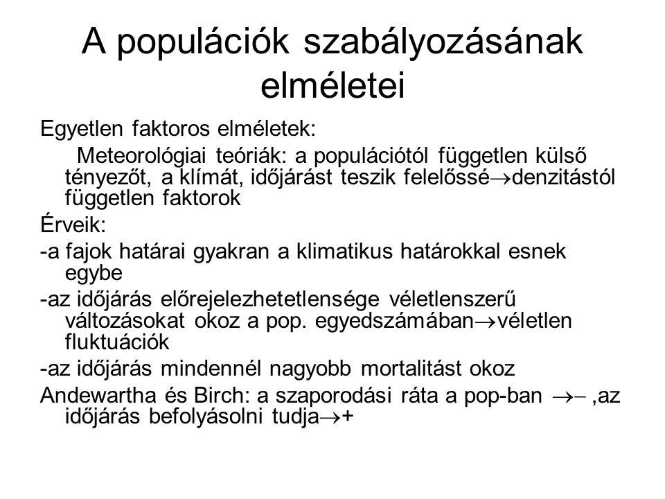 A populációk szabályozásának elméletei Egyetlen faktoros elméletek: Meteorológiai teóriák: a populációtól független külső tényezőt, a klímát, időjárás
