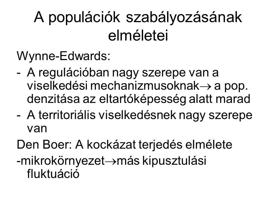 A populációk szabályozásának elméletei Wynne-Edwards: -A regulációban nagy szerepe van a viselkedési mechanizmusoknak  a pop. denzitása az eltartókép
