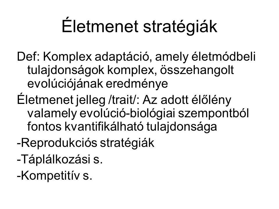 Életmenet stratégiák Def: Komplex adaptáció, amely életmódbeli tulajdonságok komplex, összehangolt evolúciójának eredménye Életmenet jelleg /trait/: A