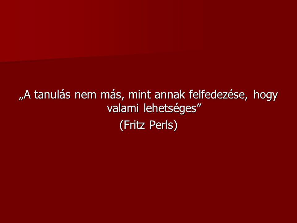 """""""A tanulás nem más, mint annak felfedezése, hogy valami lehetséges"""" (Fritz Perls)"""