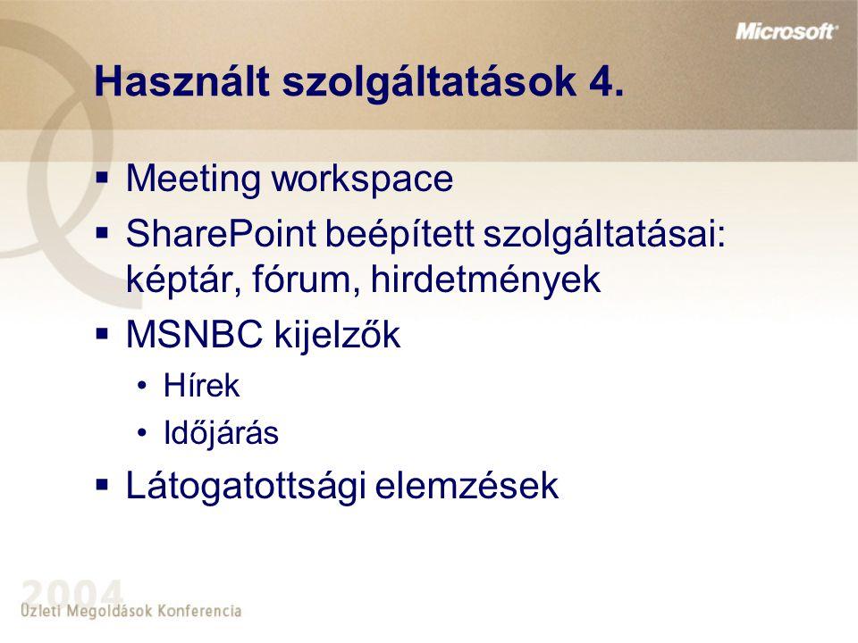 Használt szolgáltatások 4.  Meeting workspace  SharePoint beépített szolgáltatásai: képtár, fórum, hirdetmények  MSNBC kijelzők •Hírek •Időjárás 