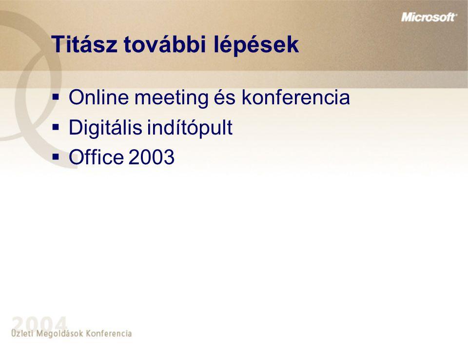 Titász további lépések  Online meeting és konferencia  Digitális indítópult  Office 2003