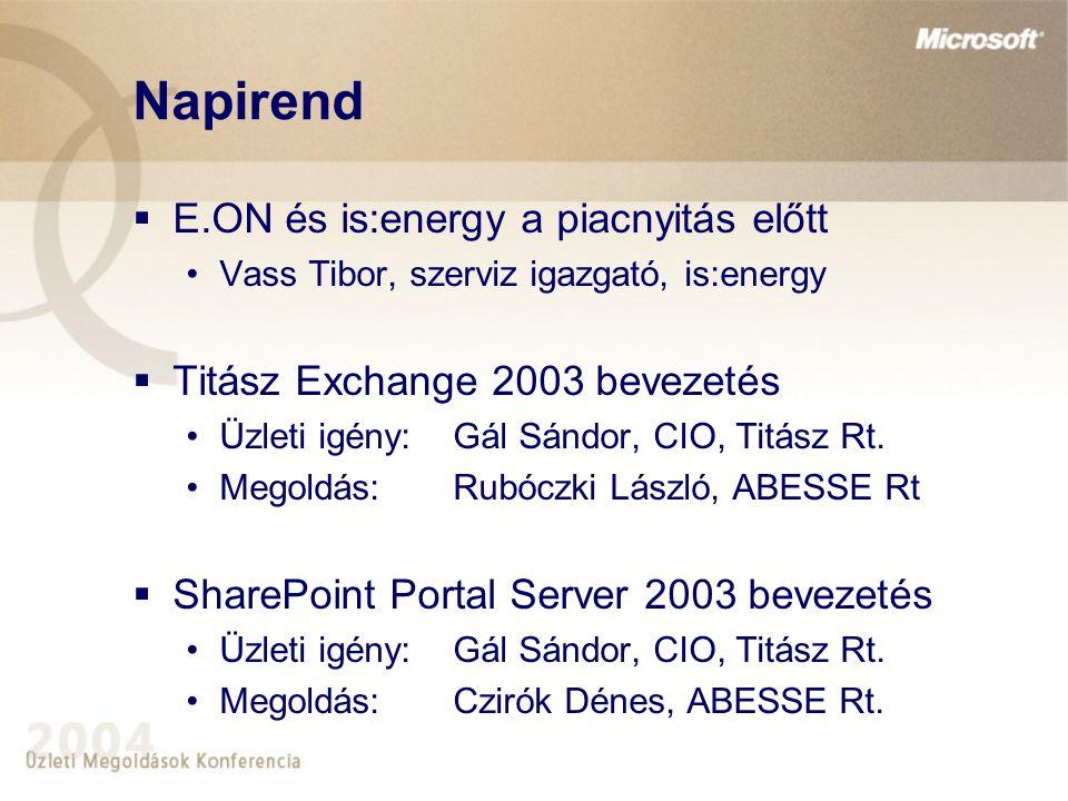 E.ON és az is:energy  Az energia üzletág liberalizációjának kihívásai •Növekszik az üzleti folyamatok komplexitása •Új és egyre átfogóbb informatika igények  is:energy - ABESSE együttműködés •Microsoft megoldások (Exchange, SPS, Sales System)  A Titász támogatja az innovatív megoldásokat
