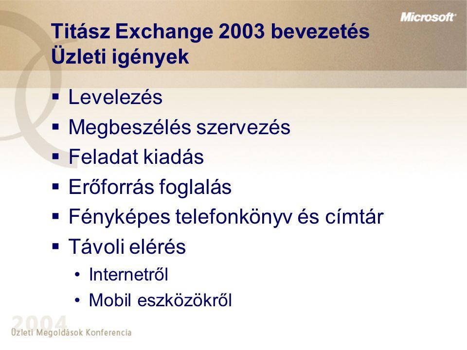 Titász Exchange 2003 bevezetés Megoldás - Megvalósítandó feladatok  Exchange 2003 teljes funkcionalitás megvalósítása  Magas rendelkezésreállás  Központi adattárolás  Címlisták és felhasználói adatok tárolása  Központi felügyelet kialakítása  Biztonságos, hitelesített internetes publikáció  Vírusvédelem, mentés  Integráció az ügyfél hálózati és biztonsági stratégiájával