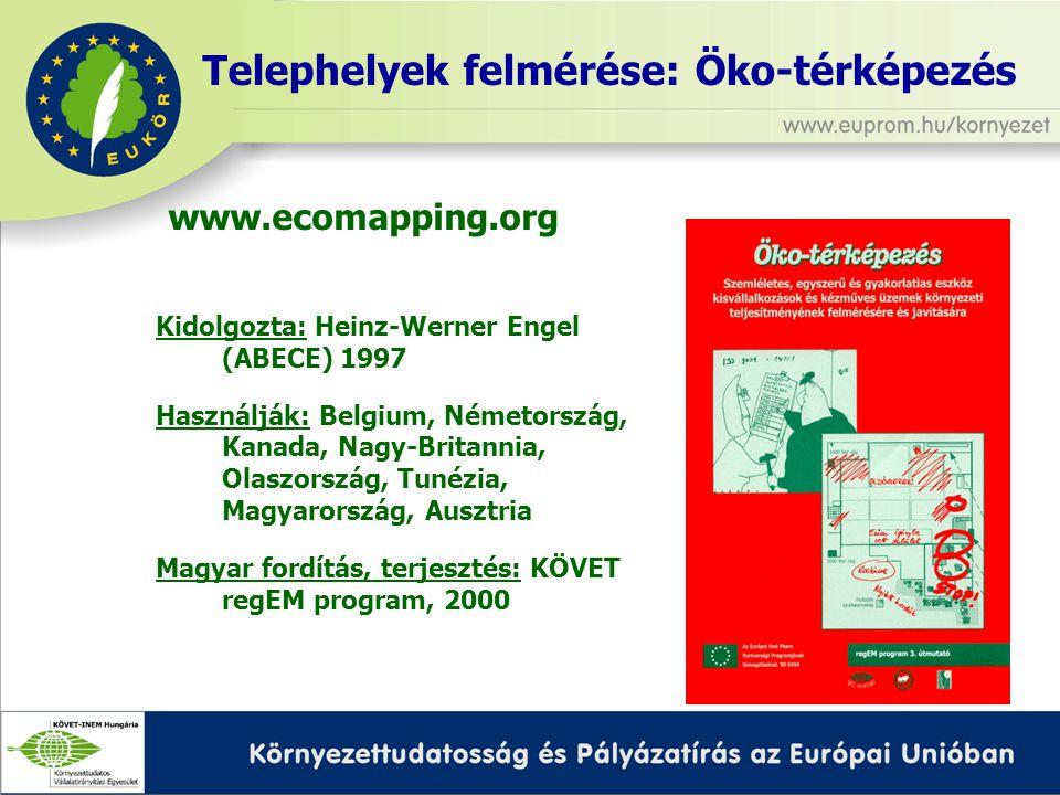 Kidolgozta: Heinz-Werner Engel (ABECE) 1997 Használják: Belgium, Németország, Kanada, Nagy-Britannia, Olaszország, Tunézia, Magyarország, Ausztria Magyar fordítás, terjesztés: KÖVET regEM program, 2000 Telephelyek felmérése: Öko-térképezés www.ecomapping.org