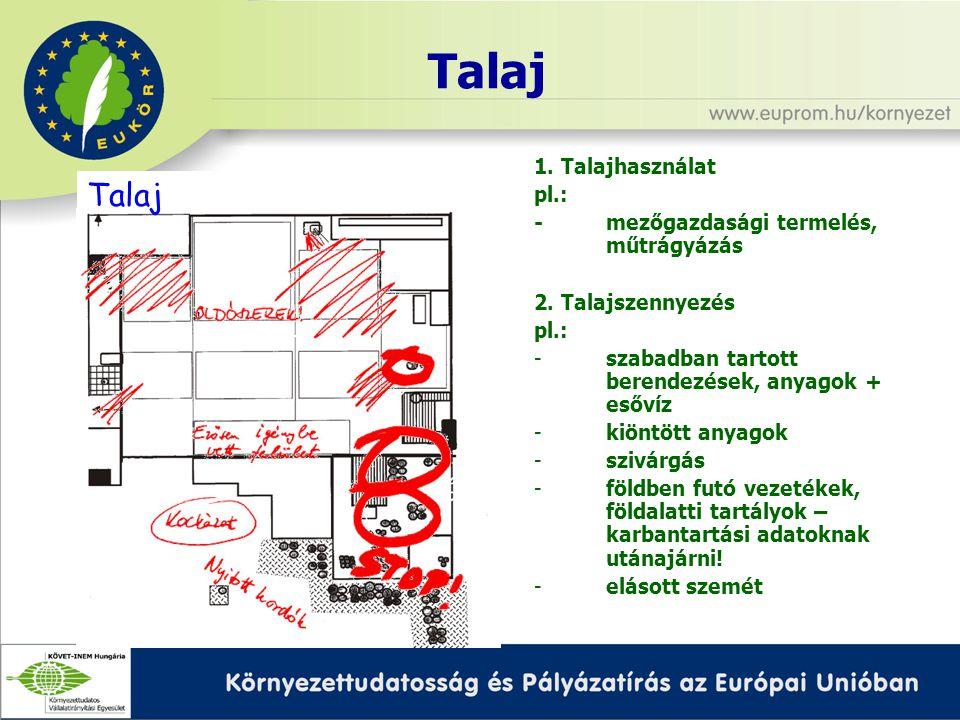 Talaj 1. Talajhasználat pl.: -mezőgazdasági termelés, műtrágyázás 2.