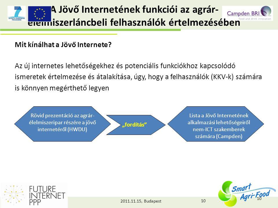 2011.11.15, Budapest A Jövő Internetének funkciói az agrár- élelmiszerláncbeli felhasználók értelmezésében Mit kínálhat a Jövő Internete.