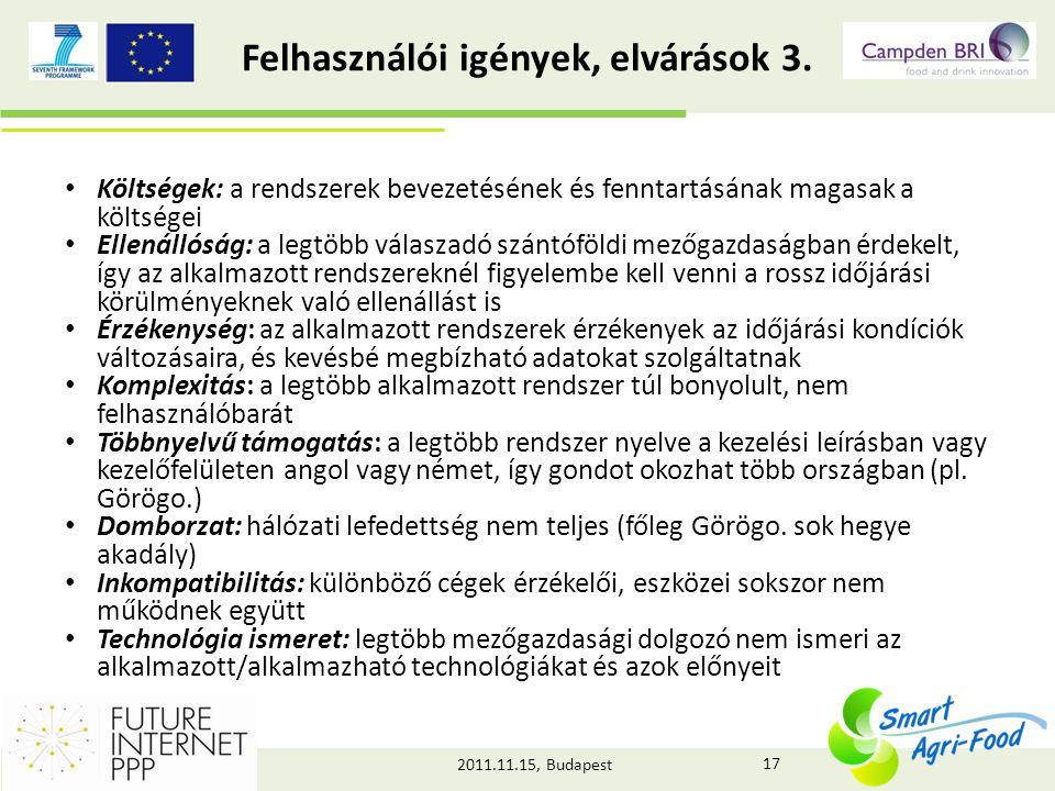 2011.11.15, Budapest Felhasználói igények, elvárások 3.