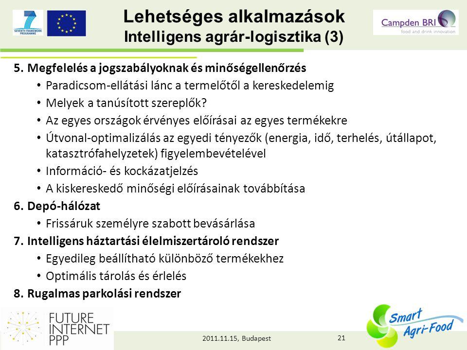 2011.11.15, Budapest Lehetséges alkalmazások Intelligens agrár-logisztika (3) 5.Megfelelés a jogszabályoknak és minőségellenőrzés • Paradicsom-ellátási lánc a termelőtől a kereskedelemig • Melyek a tanúsított szereplők.