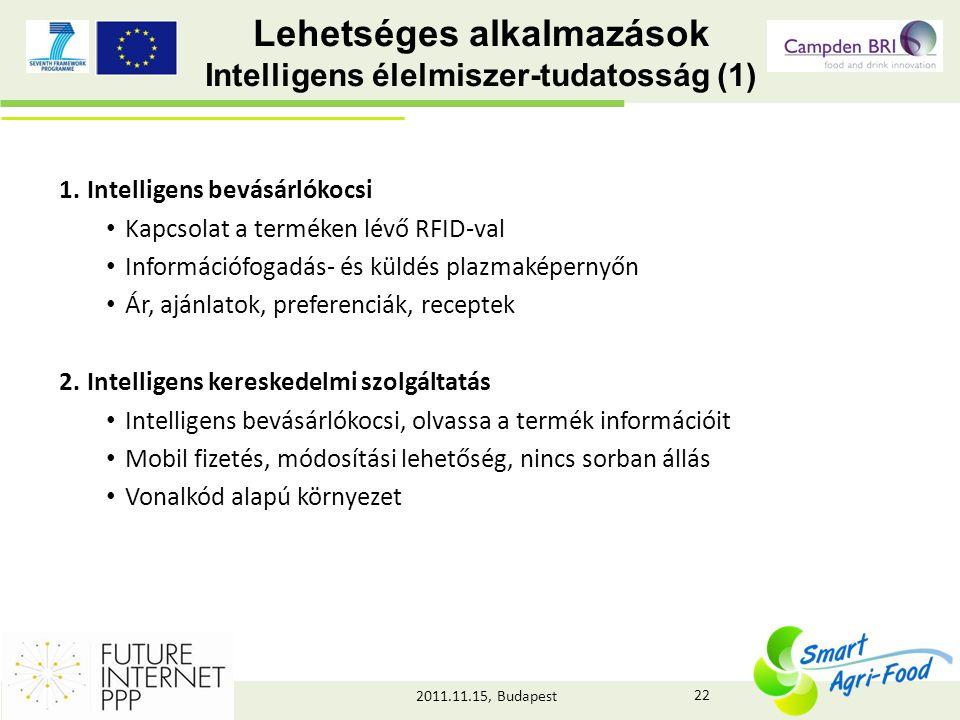 2011.11.15, Budapest Lehetséges alkalmazások Intelligens élelmiszer-tudatosság (1) 1.Intelligens bevásárlókocsi • Kapcsolat a terméken lévő RFID-val • Információfogadás- és küldés plazmaképernyőn • Ár, ajánlatok, preferenciák, receptek 2.Intelligens kereskedelmi szolgáltatás • Intelligens bevásárlókocsi, olvassa a termék információit • Mobil fizetés, módosítási lehetőség, nincs sorban állás • Vonalkód alapú környezet 22