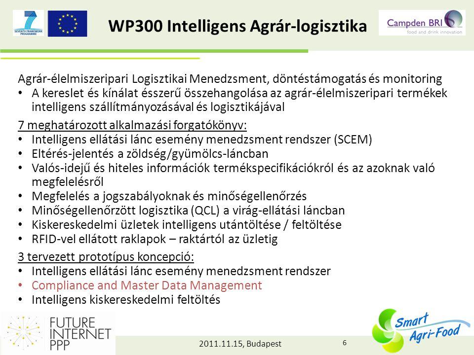 2011.11.15, Budapest WP400 Intelligens Élelmiszer-tudatosság Élelmiszer termékprofil a végfelhasználóknak • A fogyasztók releváns információkkal való ellátása a biztonságra, az elérhetőségre, az egészségre, a környezeti hatásokra, valamint az állatjólétre vonatkozóan • amely segíti az átgondolt és tájékozott döntéshozatalt, és átláthatóvá teszi a teljes élelmiszerláncban zajló tevékenységeket Prototípus koncepciók: 1.Egyénre szabott termékinformációk a fogyasztók részére (BonPreu) – Minden egyes fogyasztó szükségletének kielégítése, az átláthatóság és személyre szabott termékinformációk biztosításával – Az élelmiszerlánc ellenőrzésének biztosítása, a hatékonyabb, biztonságosabb és átláthatóbb működés érdekében 2.Hústermékek jelölése (OrgaInvent) 3.Állatjólétre vonatkozó információk 7