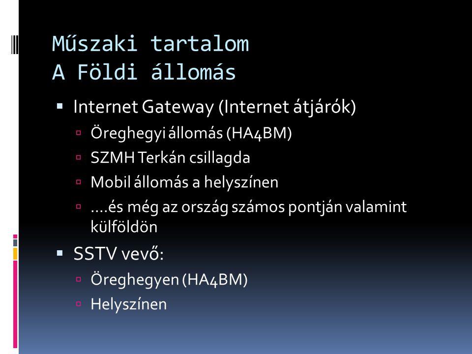 Műszaki tartalom A Földi állomás  Internet Gateway (Internet átjárók)  Öreghegyi állomás (HA4BM)  SZMH Terkán csillagda  Mobil állomás a helyszíne