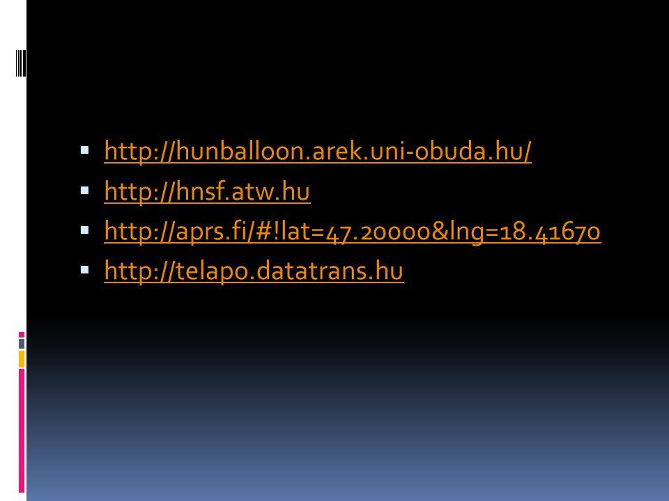  http://hunballoon.arek.uni-obuda.hu/ http://hunballoon.arek.uni-obuda.hu/  http://hnsf.atw.hu http://hnsf.atw.hu  http://aprs.fi/#!lat=47.20000&ln