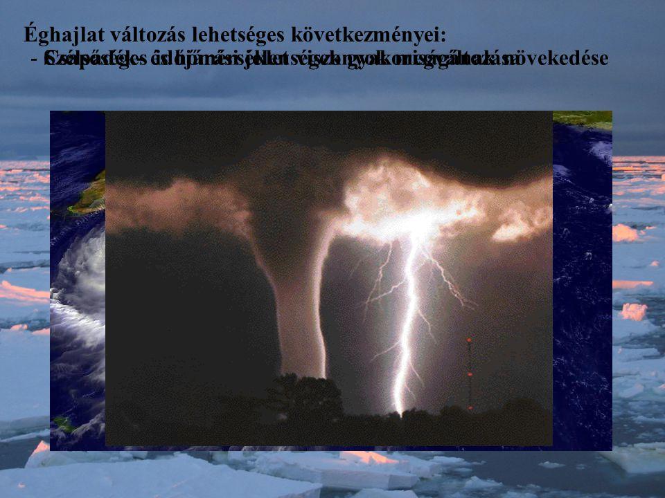 Éghajlat változás lehetséges következményei: - Csapadék- és hőmérséklet viszonyok megváltozása- Szélsőséges időjárási jelenségek gyakoriságának növekedése 19122000
