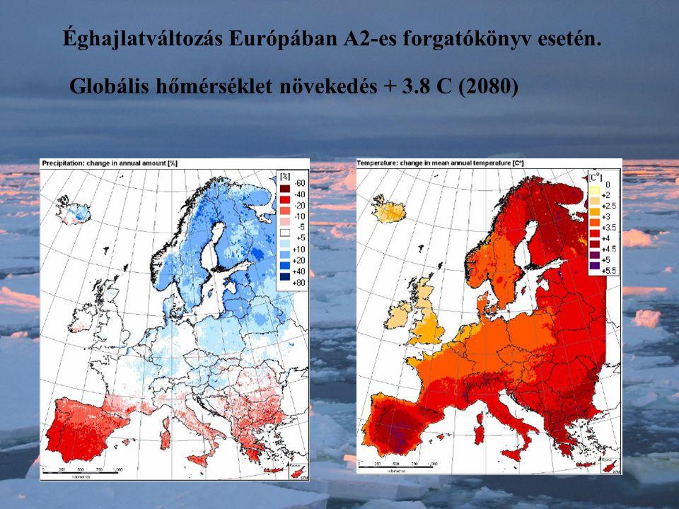 Éghajlatváltozás Európában A2-es forgatókönyv esetén. Globális hőmérséklet növekedés + 3.8 C (2080)