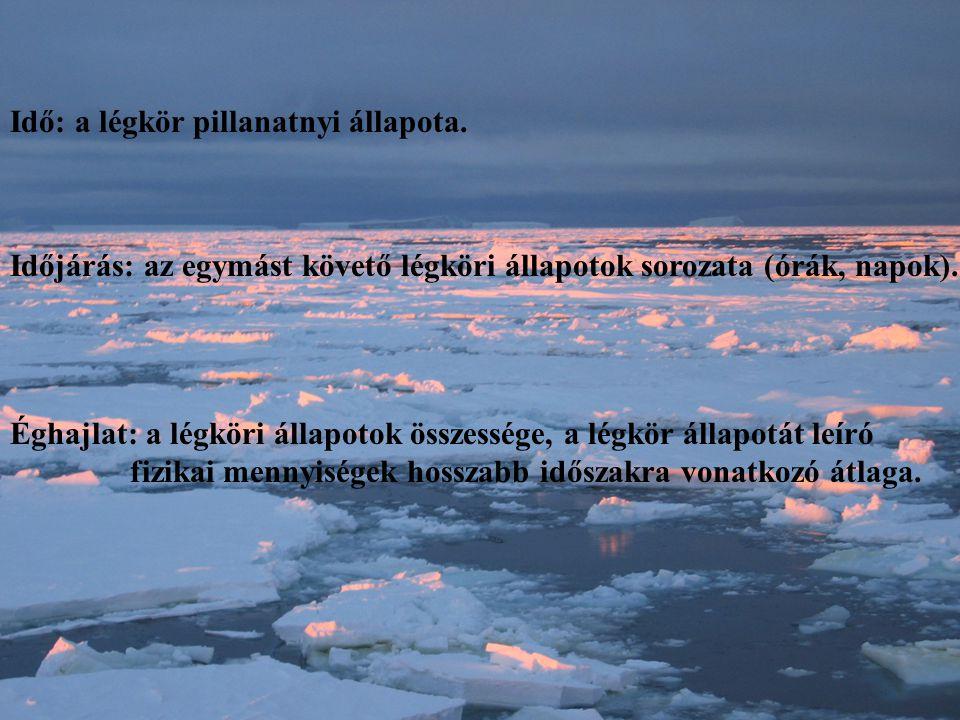 Idő: a légkör pillanatnyi állapota. Időjárás: az egymást követő légköri állapotok sorozata (órák, napok). Éghajlat: a légköri állapotok összessége, a