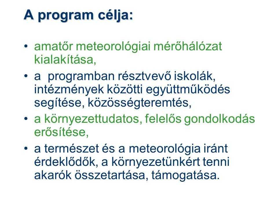 A program célja: •amatőr meteorológiai mérőhálózat kialakítása, •a programban résztvevő iskolák, intézmények közötti együttműködés segítése, közösségteremtés, •a környezettudatos, felelős gondolkodás erősítése, •a természet és a meteorológia iránt érdeklődők, a környezetünkért tenni akarók összetartása, támogatása.