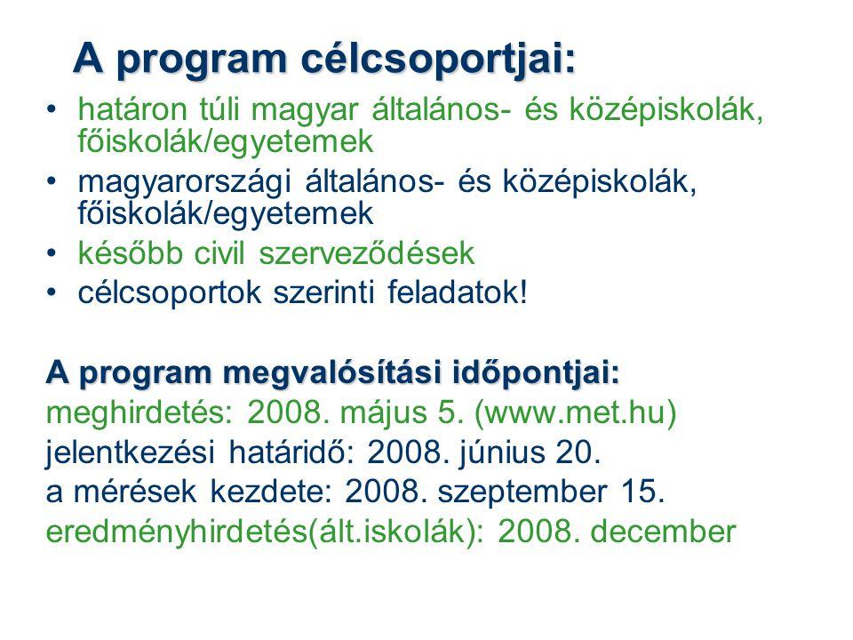 A program célcsoportjai: •határon túli magyar általános- és középiskolák, főiskolák/egyetemek •magyarországi általános- és középiskolák, főiskolák/egyetemek •később civil szerveződések •célcsoportok szerinti feladatok.