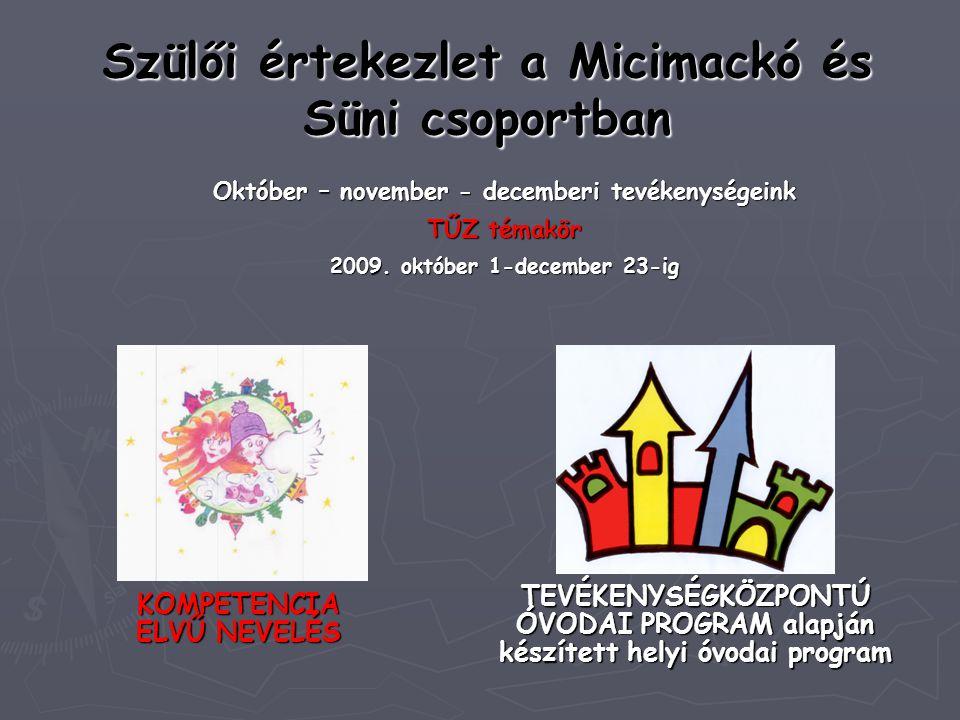 Szülői értekezlet a Micimackó és Süni csoportban Október – november - decemberi tevékenységeink TŰZ témakör 2009. október 1-december 23-ig TEVÉKENYSÉG