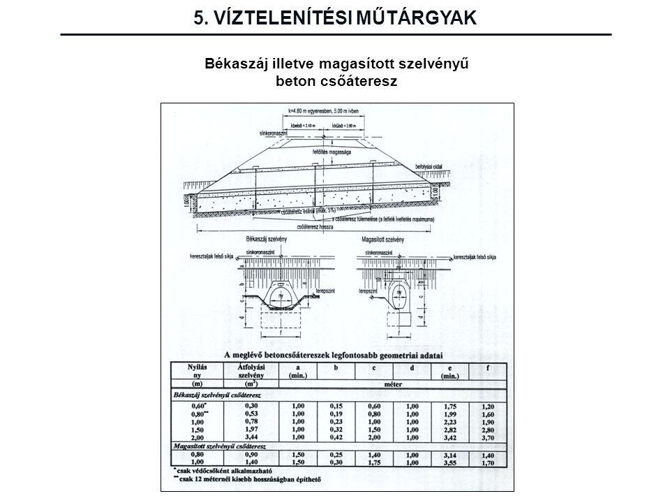 5. VÍZTELENÍTÉSI MŰTÁRGYAK Békaszáj illetve magasított szelvényű beton csőáteresz