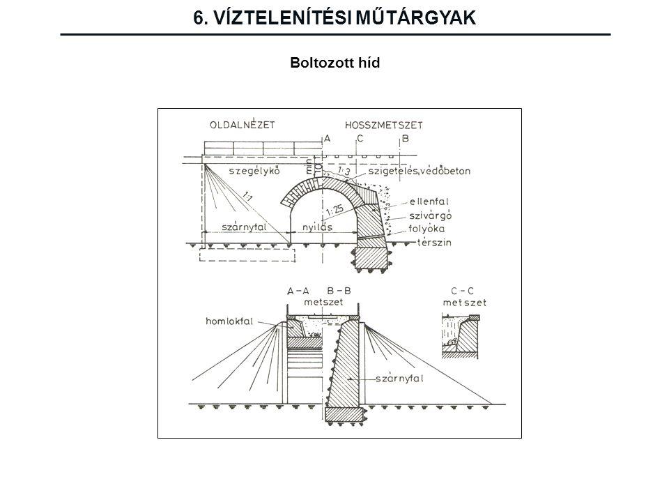 6. VÍZTELENÍTÉSI MŰTÁRGYAK Boltozott híd