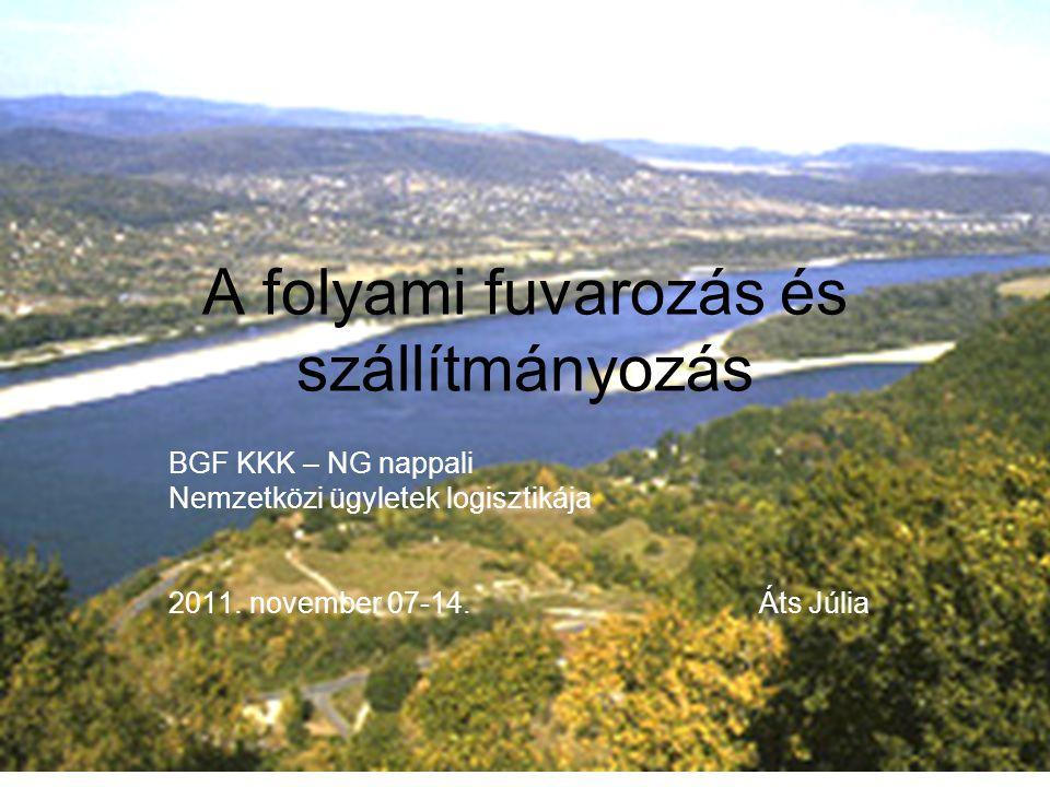 A folyami fuvarozás és szállítmányozás BGF KKK – NG nappali Nemzetközi ügyletek logisztikája 2011.