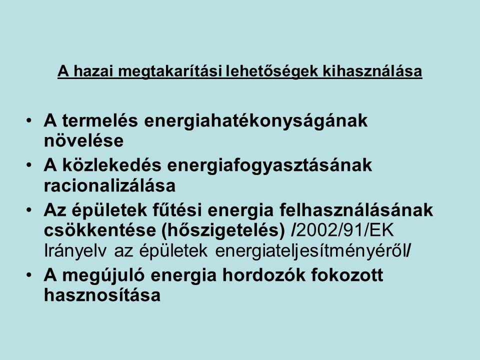 A hazai megtakarítási lehetőségek kihasználása •A termelés energiahatékonyságának növelése •A közlekedés energiafogyasztásának racionalizálása •Az épü