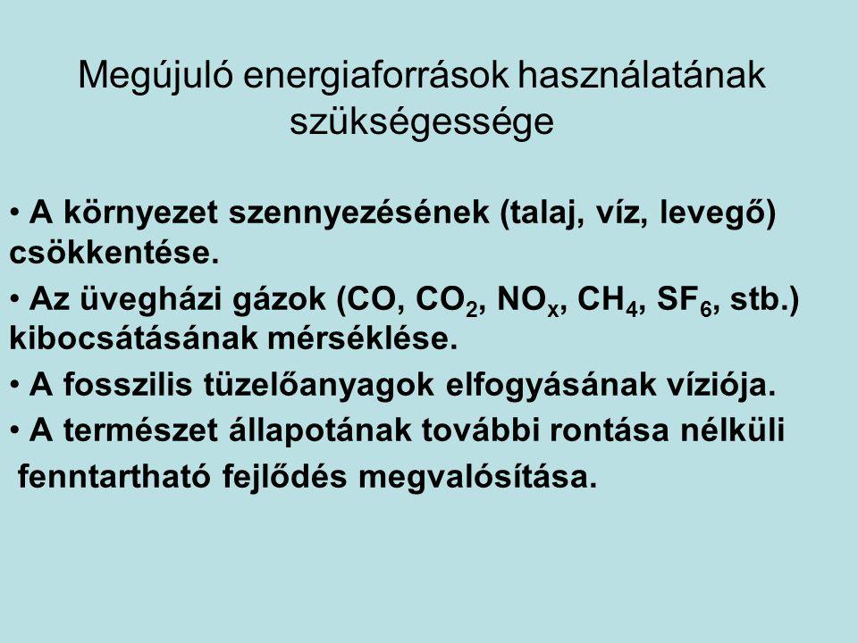 Megújuló energiaforrások használatának szükségessége • A környezet szennyezésének (talaj, víz, levegő) csökkentése. • Az üvegházi gázok (CO, CO 2, NO