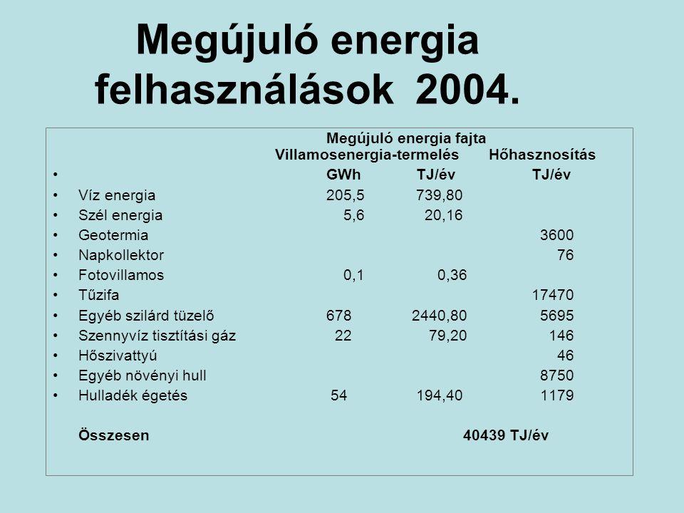 Megújuló energia felhasználások 2004. Megújuló energia fajta Villamosenergia-termelés Hőhasznosítás •GWh TJ/évTJ/év •Víz energia205,5 739,80 •Szél ene