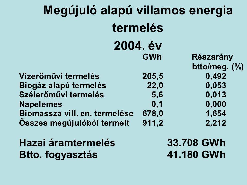 Megújuló alapú villamos energia termelés 2004. év GWhRészarány btto/meg. (%) Vízerőművi termelés205,5 0,492 Biogáz alapú termelés 22,0 0,053 Szélerőmű