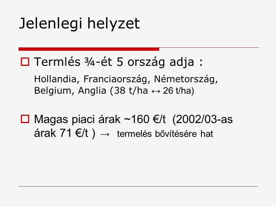 Magyarország burgonya termelése 199819992000200120022003*trend Terület ezer ha 535647363431,4 ↓ Termés ezer t 11481199864908752533,2 ↓ Termés átlag t/Ha 21,721,418,521,122,116,9 ~ Forrás: Eurostat, * KSH előzetes adat