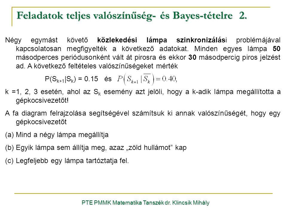 PTE PMMK Matematika Tanszék dr.Klincsik Mihály Feladatok teljes valószínűség- és Bayes-tételre 2.
