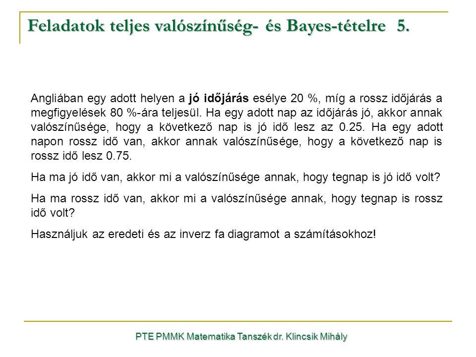 Feladatok teljes valószínűség- és Bayes-tételre 5.