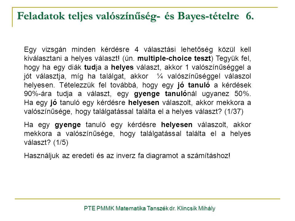 Feladatok teljes valószínűség- és Bayes-tételre 6.