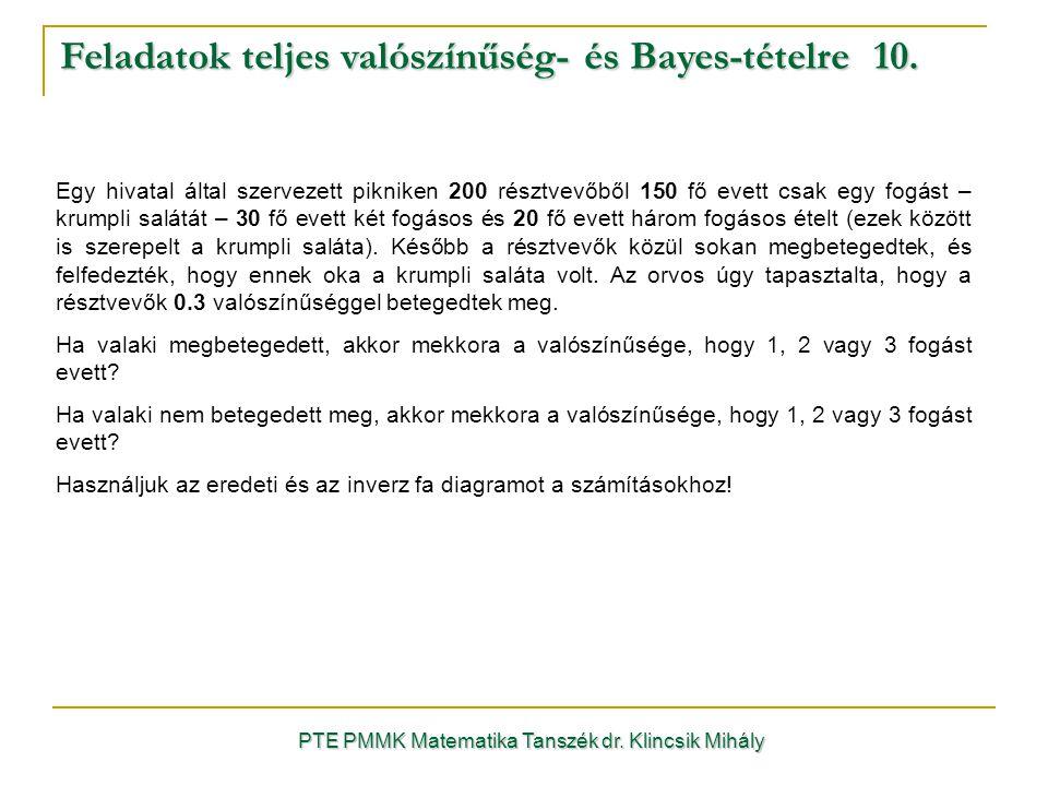 Feladatok teljes valószínűség- és Bayes-tételre 10.