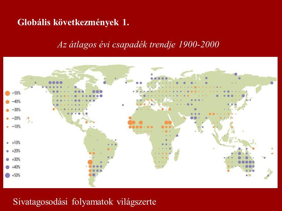 Az átlagos évi csapadék trendje 1900-2000 Globális következmények 1. Sivatagosodási folyamatok világszerte