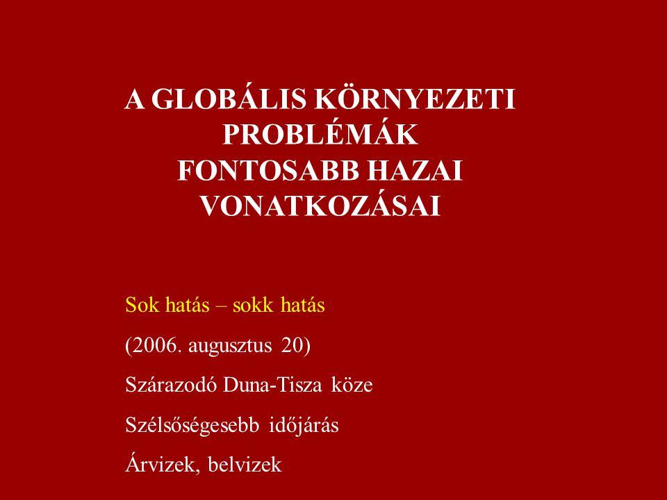 A GLOBÁLIS KÖRNYEZETI PROBLÉMÁK FONTOSABB HAZAI VONATKOZÁSAI Sok hatás – sokk hatás (2006. augusztus 20) Szárazodó Duna-Tisza köze Szélsőségesebb időj
