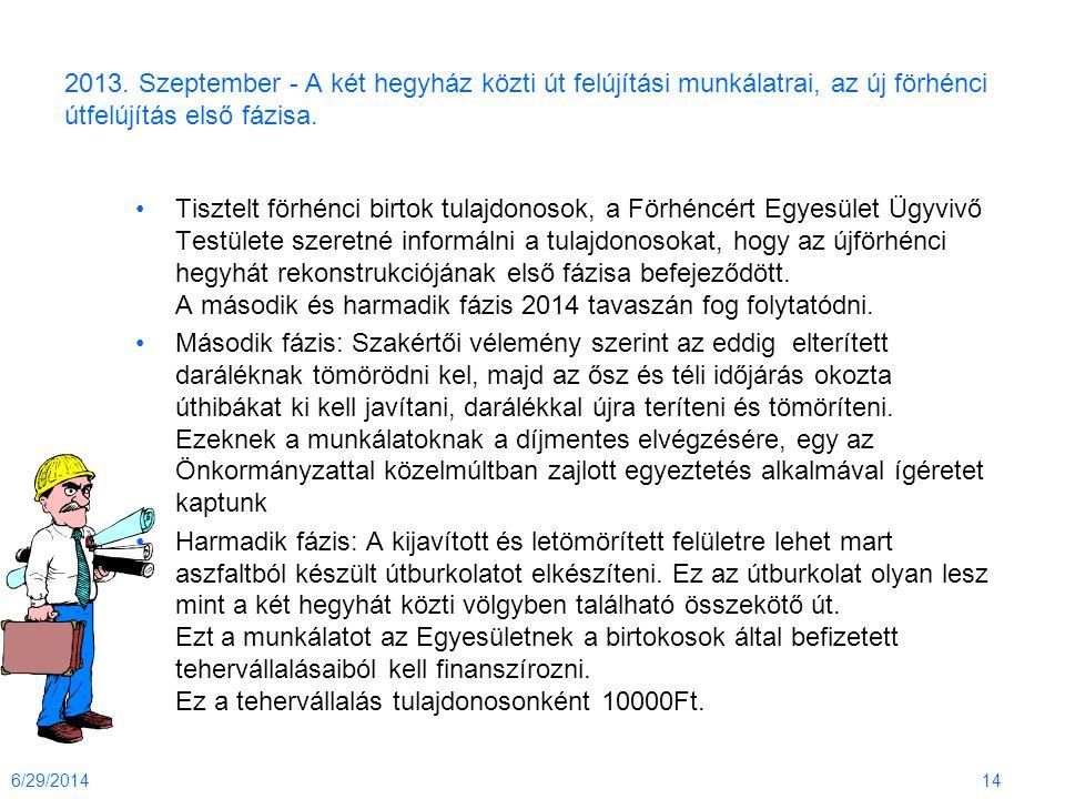 2013. Szeptember - A két hegyház közti út felújítási munkálatrai, az új förhénci útfelújítás első fázisa. •Tisztelt förhénci birtok tulajdonosok, a Fö