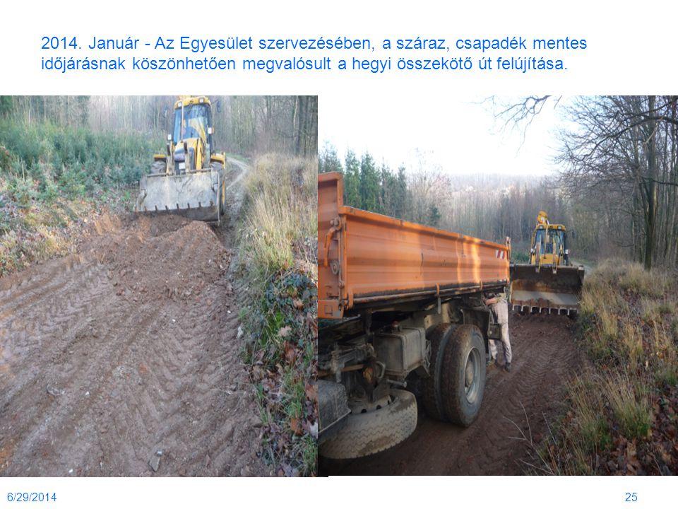 2014. Január - Az Egyesület szervezésében, a száraz, csapadék mentes időjárásnak köszönhetően megvalósult a hegyi összekötő út felújítása. 6/29/201425