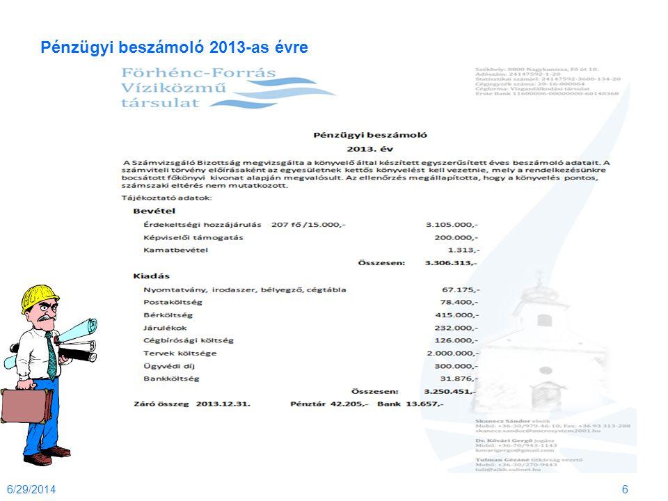 Pénzügyi beszámoló 2013-as évre 6/29/20146
