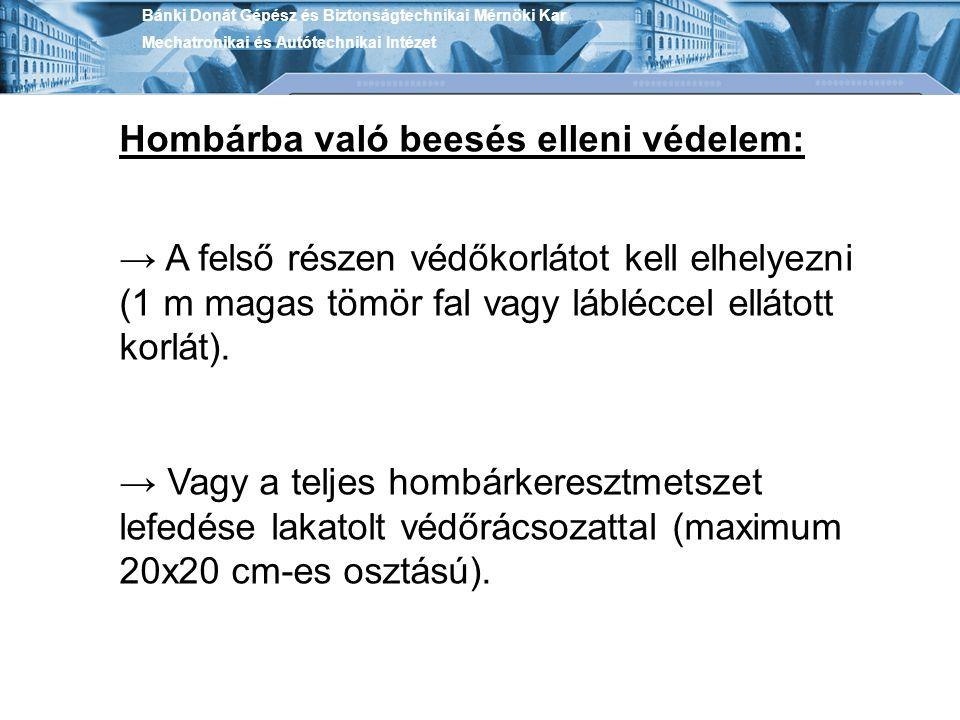 Bánki Donát Gépész és Biztonságtechnikai Mérnöki Kar Mechatronikai és Autótechnikai Intézet Hombárba való beesés elleni védelem: → A felső részen védő