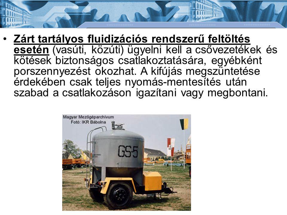 •Zárt tartályos fluidizációs rendszerű feltöltés esetén (vasúti, közúti) ügyelni kell a csővezetékek és kötések biztonságos csatlakoztatására, egyébké